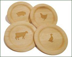 wooden, laser engraved farm animal plates