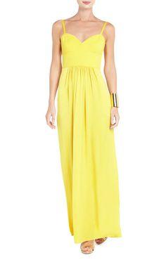 Kyra Bustier Evening Gown in Light Sunflower