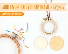 DIY miniature embroidery hoop with necklace  4cm/1.6 by dandelyne, $12.95