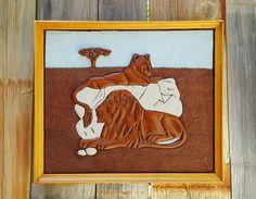 """VTG 1977 HAND CARVED BAS RELIEF LION PICTURE ~ 13""""x15"""" FRAMED AMERICAN FOLK ART  #FolkArt #BasRelief #Lion #WoodCarving"""