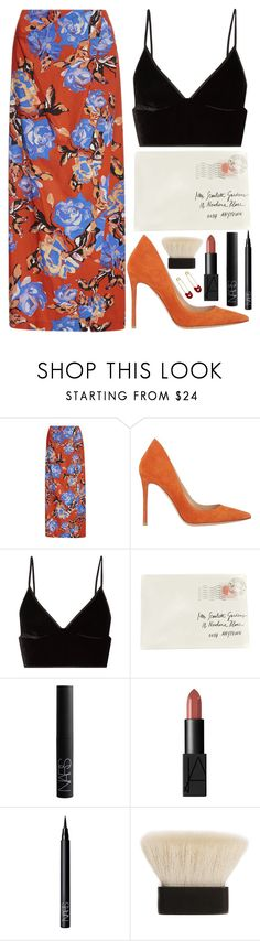 """fall florals"" by steeniebean ❤ liked on Polyvore featuring Monique Lhuillier, Gianvito Rossi, T By Alexander Wang, Moschino, NARS Cosmetics, Claudio Riaz and Kristin Cavallari"