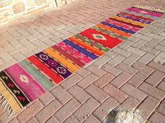 "Kilim runner, Colorful Vintage Turkish kilim runner rug, 96"" x 22.5"", aztec runner, runner rug, kelim, bohemian runner rug, Turkish rug, rug"