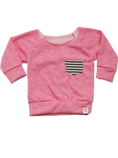 Pink & Gray Stripe Scoop Top