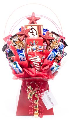 The Celebration Bar Chocolate Bouquet needs little introduction as we all love a good old box of Celebrations! See www.thechocolateflorist.co.uk for further information