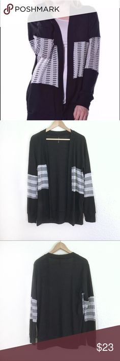 🆕 Black and White Cardigan NWOT black and white Pastel open front cardigan. Light and flowy material with white knit design going across. Note: I have taken Sweater out of packaging to inspect for flaws and to provide measurements.  🌻🌻🌻🌻 Measurements are approximate and taken with garment laying flat: Chest: 22in Length: 28in 🌷🌷🌷🌷 ⭐️Sorry I don't do any trades.  ⭐️ Feel free to ask any questions.  ⭐️ Bundle your likes for an exclusive offer! Pastels Clothing Sweaters Cardigans