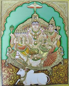 Mysore Painting, Tanjore Painting, Shiva Art, Hindu Art, Shiv Ji, Ganpati Bappa, Goddess Lakshmi, God Pictures, Buddhist Art