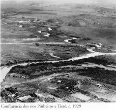 1929 - Confluência dos rios Pinheiros e Tietê.