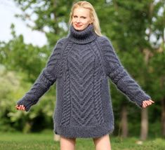 Gorgeous thick and fuzzy hand knitted mohair sweater by supertanya