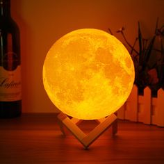 15cm 3D Magical Two Tone Moon Lamp USB Charging Luna LED Night Light Touch Sensor Gift is Multicolor-NewChic Mobile.