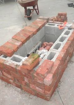 Brick covered cinder block fire pit.