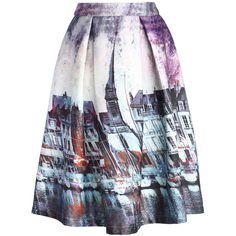Chicwish Elusive Riverside Print Pleated Midi Skirt