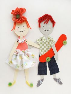 """diy articulated paper dolls or """"action figures"""" with free template.  My kiddos love the standard paper dolls, but adding moveable arms/legs will only add to their awesomeness!"""