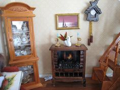 My doll house - Glass cabinet & wood stove - Mi casita de muñecas - Vitrina y estufa de madera