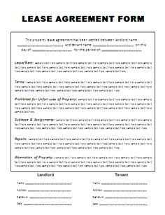 Marvelous Rental Agreement Form Free Printable | Free Word Templates   Rental  Agreement Template