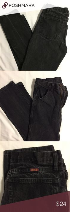 Vintage Rustler Jeans by Wrangler (32 x 32) Vintage black jeans by Wrangler.  Great faded look with no holes, tears, or fray!          All products* sold by super22saver55 are pre-washed using Tide Pods, Downy Unstoppables, and Oxygen Orange for your convenience.  *Not including NWT products, products made of wool or sports wear.  *Sports wear products are washed with detergent and vinegar or baking soda. Wrangler Jeans Slim