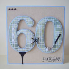 60th Birthday Golf Birthday Card using Quickutz Dies. Handmade & hand crafted. I like to make my own embellishments and a lot of my cards are cut by hand.