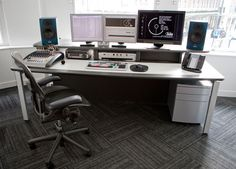 AKA custom design and build edit desks for all media environments including Video Editing, VFX, Grading and Broadcast consoles. Music Desk, Editing Suite, Studio Furniture, Workspace Inspiration, Computer Technology, Home Studio, Recording Studio, Studio Ideas, Lps