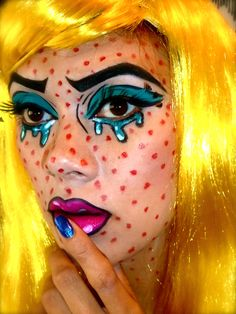 turn yourself into a pop art comic, roy lichtenstein inspired halloween makeup tutorial