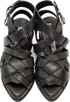 Discounted Women Black Grained Leather Lenna Sandals By Acne Studios Office
