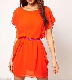 Happy colours unite!  New Womens Casual Career Wear to Work Chiffon round neck Dress S M L XL | eBay