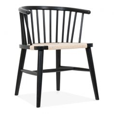 Head of the table - Danish Designs Isabella Wooden Dining Armchair with Rattan Seat - Black / Natural Bamboo Sofa, Wooden Dining Room Chairs, Dining Arm Chair, Black Wooden Chairs, Metal Chairs, Cool Chairs, Pink Chairs, White Chairs, Rattan Armchair