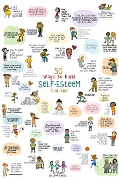 50 Ways to Help Kids Build Self-Esteem. Poster, fun school counseling lesson, and fortune teller activity.