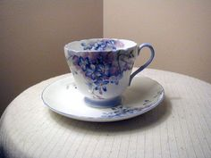 Shelley Fine English Bone China Tea Cup and + Saucer Set Blue Spray in Pottery & Glass | eBay