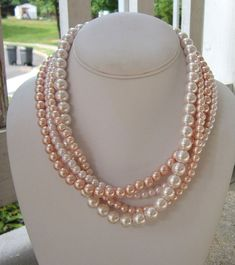 Chunky Pink Necklace Blush Statement Pearl by DeniseJewelryDesigns, $39.00