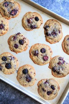 Blackberry Lavender Chocolate Chip Cookies - a unique twist on the classic with some fruit and dried lavender. Perfect dessert in summertime! Beef Recipes, Cookie Recipes, Culinary Lavender, Easy Cooking, Chocolate Chip Cookies, Blackberry, Baking Soda, Food Processor Recipes, Summertime