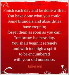 A good reminder. Start fresh.