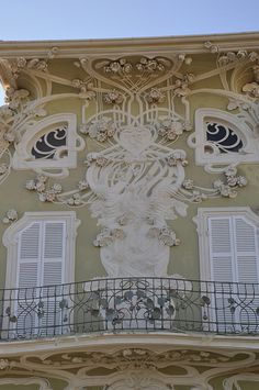 A portion of the extravagant Villa Ruggeri in Pesaro, Italy, created by Giovanni Brega in the early 1900s.  The art nouveau style is called, variously, stile floreale, the stile Inglese, or the stile Liberty (after Liberty and Company in London, a cotton cloth manufacturer).