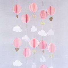 Pink White Gold Glitter Hot Air Balloon Hearts Cloud Baby Nursery Garland Banner Travel