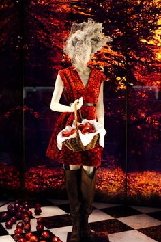 Prada F/W 2009 red velvet devore dress, Prada store window display (Style/Clicker)