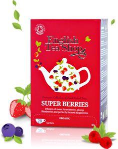 Super Berries | English Tea Shop.Yummy   Tão delicioso no paladar quanto o seu aroma. Uma mistura deliciosa das clássicas bagas para maravilhar as papilas gustativas. Esta infusão é uma bebida simplesmente fantástica. É um cocktail de bagas recheado de antioxidantes e vitamina C que nos vai encantar. SEM CAFEÍNA    Ingredientes: Hibiscos biológicos, Rooibos biológico, Hortelã biológica, bagos de Framboesas biológicas, Morangos biológicos, amoras biológicas e aroma natural a Framboesa e…