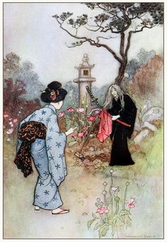The nurse.  Warwick Goble, from Green Willow and other Japanese fairy tales, by Grace James, London, 1910.  (Source: archive.org)