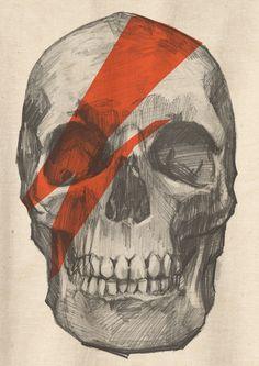 Retro David Bowie Skull Skeleton Punk Rock TShirt Tee by Videofe