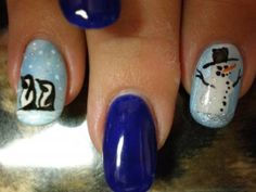 Snowman and penguins Christmas inspired nail art (26 photos)
