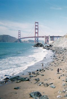 San Francisco beach looking towards the Golden Gate Bridge