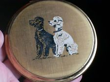 VINTAGE POODLE DESIGN POWDER COMPACT BY STRATTON