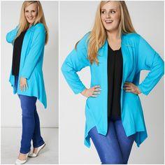 Plus Size Blue Coatigan Cardigan Jacket Asymmetric Lagenlook 18 22 24 Asymmetric Coatigan, Size Clothing, Plus Size Outfits, Clothes For Women, Sweaters, Jackets, Blue, Fashion, Large Size Clothing