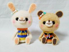 Cute Needle felted project wool animals bunny bear(Via @hananeko_youmou)
