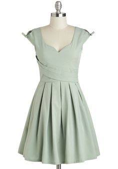 Nominee of the Night Dress in Sage - Mint, Solid, Bows, Pleats, Party, A-line, Cap Sleeves, Wedding, Vintage Inspired, 50s, Spring, Daytime Party, Pastel, Mid-length