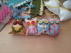 4 Owl Magnet Collection Fabric Owl Magnets Retro by AubreyMade