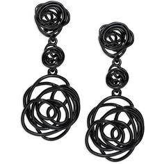 Oscar De La Renta  Wire Rose Clip-On Drop Earrings ($195) ❤ liked on Polyvore featuring jewelry, earrings, accessories, brinco, black, oscar de la renta, oscar de la renta jewelry, kohl jewelry, wire jewelry and oscar de la renta earrings