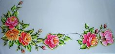 Pintura em Tecido, Como fazer, Passo a passo, Riscos e muitas dicas.: Caminho de Mesa Pintado à mão com Rosas