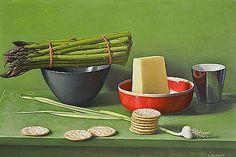 Amy Weiskopf  Still Life with Asparagus, Pecorino and Crackers  2012