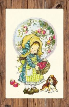 a postcard by Sarah Kay, printed by Paperitaide, Sarah Key, Holly Hobbie, Vintage Pictures, Cute Pictures, Coloring Books, Coloring Pages, Illustrator, Vintage Drawing, Australian Artists