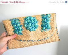 BIRTHDAY CELEBRATION SALE vintage. 60s Woven Clutch / Natural Woven Straw Clutch with Blue Flowers on Etsy, $35.91