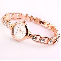 Women Fashion Rhinestone Bracelet Small Dial Stainless Steel Band Quartz Watch at Banggood