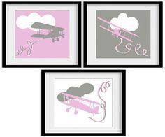 Girls Pink Gray Grey Airplane Plane Aeroplane by babydeliciousuk, $24.95